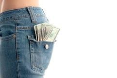 Geld in aantrekkelijke wijfjes B Stock Foto