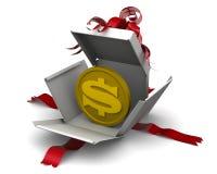 Geld als Geschenk mit Münze des US-Dollars lizenzfreie abbildung