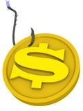 Geld als gevaarlijk lokmiddel vector illustratie