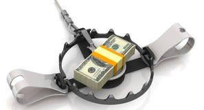 Geld als gevaarlijk lokmiddel royalty-vrije illustratie