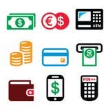 Geld, ATM - de vector geplaatste pictogrammen van de contant geldmachine stock illustratie