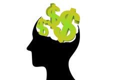 Geld auf dem Gehirn Stockbild