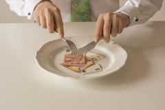 Geld auf einer Platte, die wie Lebensmittel mit einem Messer und einer Gabel geschnitten wird Stockfotografie