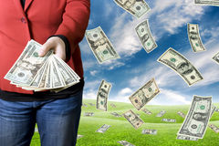 Geld aufheben Stockbilder