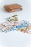 Geld aus Mappe heraus lizenzfreie stockfotos