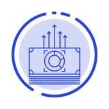 Geld, Bündel, Dollars, Linie Ikone der Übergangsblauen punktierten Linie stock abbildung