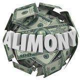 Geld-Ball-finanzielle Verpflichtung ex Hochzeits-Suppo des Alimente-Wort-3d Lizenzfreie Stockbilder