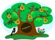 Geld-Baum des Wohlstandes mit Krähe Stockfotos