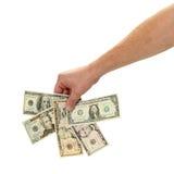 Geld-Bezeichnung-Gebläse stockfoto