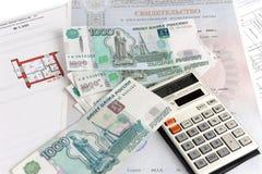 Geld, calculator, certificaat, en plan Stock Foto's