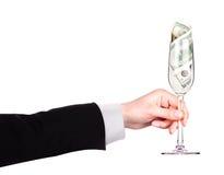 Geld-Cocktailgeschäfts-Konzepttoast Stockfoto