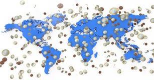 Geld, das auf Weltkarte regnet Stockfotos