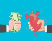 Geld, das ein Herz kauft Stockfoto