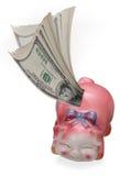 Geld, das in eine piggy Querneigung einsteigt Lizenzfreies Stockfoto
