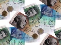 Geld, das in Finnland bis die Einleitung des Euros verteilt. Stockfotos