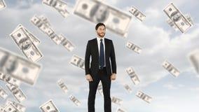Geld, das Geschäftsmann macht stock video