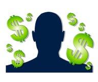 Geld dat het Silhouet van Ideeën maakt Stock Foto's