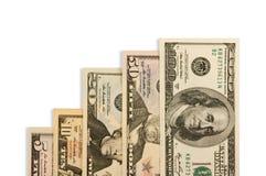 Geld dat op witte achtergrond wordt geïsoleerdj Royalty-vrije Stock Afbeeldingen