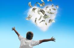 Geld dat van de hemel valt stock afbeelding