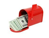Geld in de brievenbus Stock Afbeeldingen