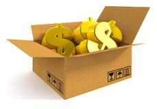 Geld in de doos Royalty-vrije Stock Foto