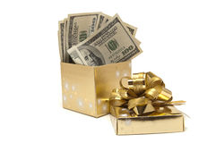 Geld in de doos Royalty-vrije Stock Foto's