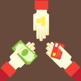Geld in de handen van contant geld en cashless Stock Afbeelding