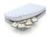 Geld in de matras - 3D besparingenconcept Stock Foto