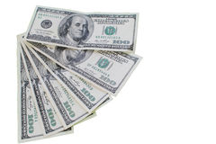 Geld - de Munt van de V.S. honderd dollarsrekeningen Stock Foto's