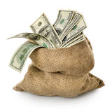 Geld in de oude zak Stock Afbeelding