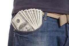Geld in de zak royalty-vrije stock afbeeldingen