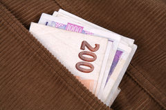 Geld in de zak Royalty-vrije Stock Fotografie
