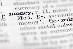 Geld; Definition im englischen Verzeichnis. Lizenzfreie Stockfotografie