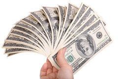 Geld in den weiblichen Händen. stockbild