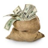 Geld in der alten Tasche Stockbild