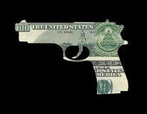 Geld in der Form der Gewehr Lizenzfreie Stockfotografie