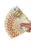 Geld in der Hand der Frau Lizenzfreie Stockbilder