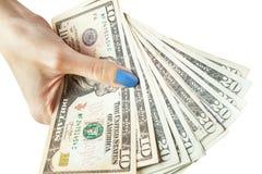 Geld in der Hand, Hand mit Geld, Hand, die Banknoten und c hält Lizenzfreies Stockbild