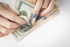 Geld in der Hand, Hand mit Geld, Hand, die Banknoten und c hält Lizenzfreie Stockfotos