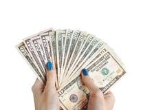 Geld in der Hand, Hand mit Geld, Hand, die Banknoten und c hält Lizenzfreies Stockfoto
