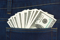 Geld in der Jeanstasche Stockfotos