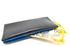 Geld in der ledernen Geldbörse Stockfotografie