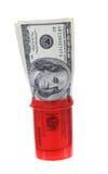 Geld in der Pille-Flasche Lizenzfreies Stockbild