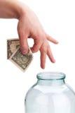 Geld in der Querneigung Stockbilder