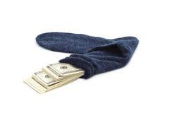 Geld in der Socke Stockbild