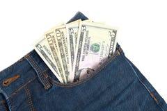 Geld in der Tasche Stockbilder