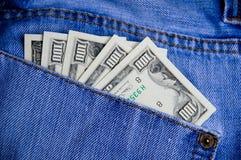 Geld in der Tasche Stockbild