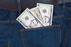 Geld in der Taschen-Blue Jeans Lizenzfreies Stockbild