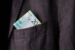 Geld in der Taschenecke aufwärts lizenzfreie stockfotografie
