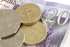 Geld des britischen Sterling Stockfotos